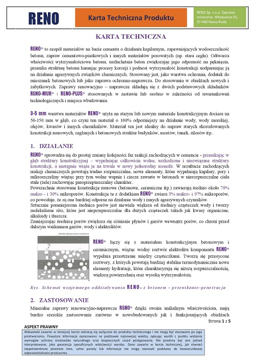 Karta technologiczna RENO -