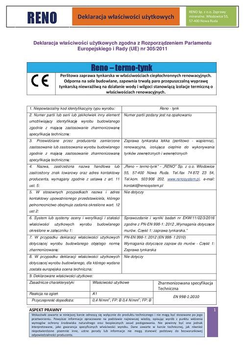 Deklaracja właściwości użytkowych - hydrofobowa wapienna zaprawa tynkarska